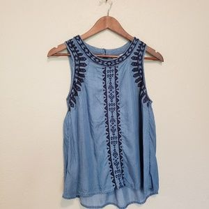 Crown & Ivy Embroidered Chambray Top